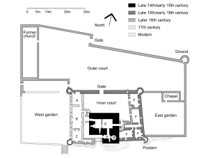 Ground floor plan of Craigmillar Castle.  Key: A=Kitchen, B=Dining Room, C=Chamber, D=Tower entrance, E=Tower cellars, F=East range cellars (Photo by Jonathan Oldenbuck from Wikimedia Commons)