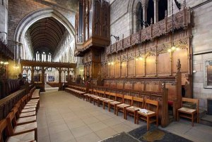 Woodwork in the choir of Dunblane Cathedral which dates from the 15th Century.  (Photo by John Salmon from Wikimedia Commons)