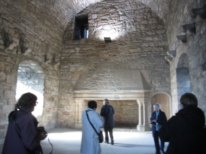The Great Hall and fireplace of Craigmillar Castle (Photo by the author)