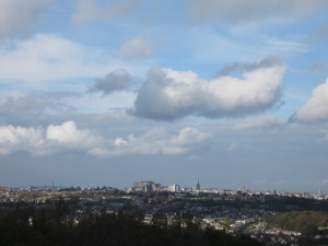 View of Edinburgh from the roof of Craigmillar Castle (Photo by the author)