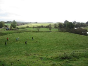 The Great Hall of Fotheringhay Castle most likely stood on this grassy area below the motte (Photo by the author)
