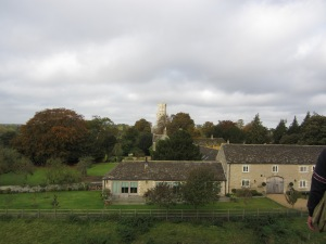 View of the village and church of Fotheringhay from the top of the motte of the castle (Photo by the author)