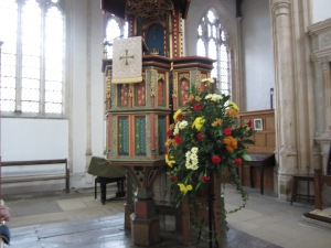 The 15th Century pulpit in the church at Fotheringhay, said to have been donated by King Edward IV (Photo by the author)