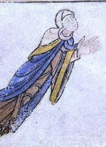 "A noblewoman kneeling in front of Christ - most likely Adeliza of Louvain, from ""The Shaftesbury Psalter"""