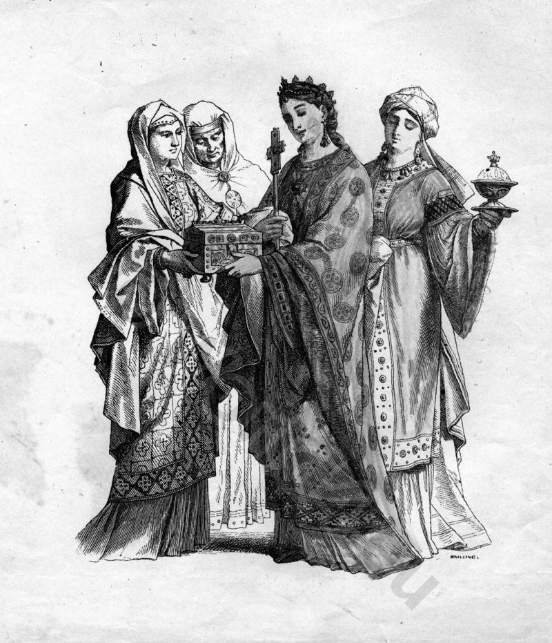 Judith of France, Queen of Wessex and Countess of Flanders Medieval-carolingian-costume-0011