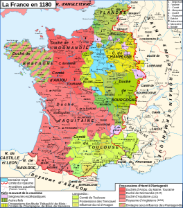 Map of France in 1180 (Author:  Zigeuner from Wikimedia Commons)
