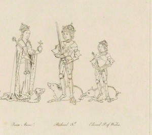 19th C. drawing of Anne, her husband King Richard III and their son Edward of Middleham
