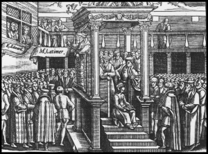 Engraving of King Edward VI listening to Hugh Latimer preaching