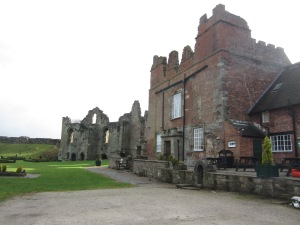 The tearoom, kitchen and South Tower of Tutbury Castle (Photo by the author)