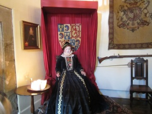Curator of Tutbury Castle, Lesley Smith as Mary Queen of Scots in the Banqueting Hall (Photo by the author)