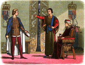 Henry VI sits while Richard Plantagenet, 3rd Duke of York, and Edmund Beaufort, 2nd Duke of Somerset, have an argument.  Engraving by Edmund Evans from