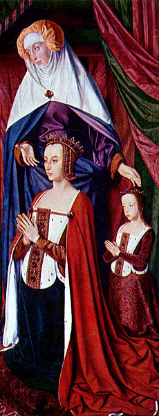 St. Anne presenting Anne of France and her daughter Suzanne by the Master of Moulins