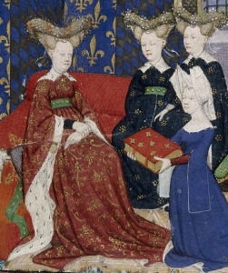 Detail of a presentation miniature with Christine de Pisan presenting her book to queen Isabeau of Bavaria. Illuminated miniature from The Book of the Queen (various works by Christine de Pizan), BL Harley 4431.