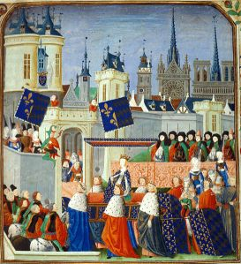 Queen Isabella in procession. Illuminated miniature from Jean Froissart's Chroniques, BL Harley 4379.
