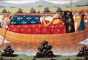 15th-century miniature showing Isabeau's funeral cortege on the Seine, from the chronicle of Martial d'Auvergne