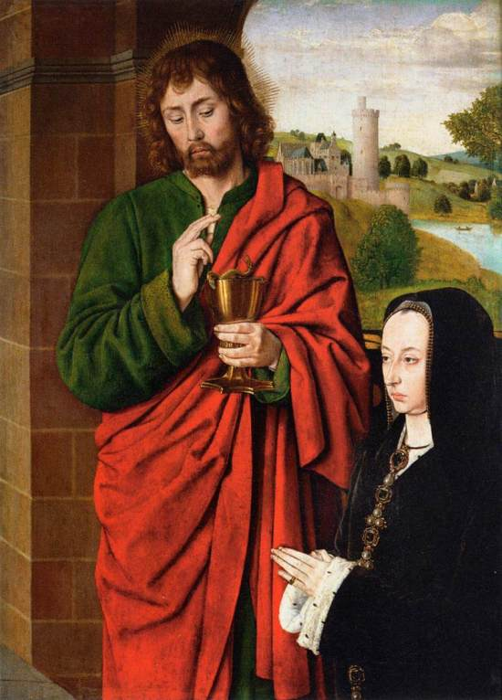 Anne of France, Duchess of Bourbon presented by St. John the Evangelist by the Master of Moulins