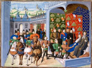 Isabeau of Bavaria and Charles VI of France at the Treaty of Troyes. Illuminated miniature from Jean Froissart's Chroniques, BL Harley 4380, c. 1470