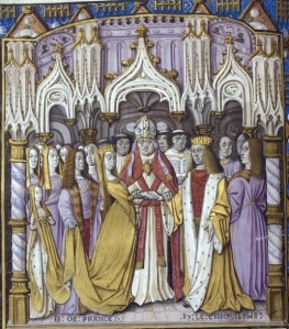 Marriage of Henry V of England to Catherine of Valois.  British Library, Jean Chartier, Chronique de Charles VII, France (Calais), 1490, and England, before 1494, Royal 20 E. vi, f. 9v,
