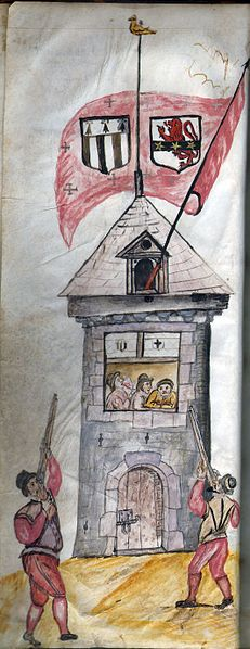 Musketeers training at shooting on the Papegaut Oak Tower in Rennes, 16th Century
