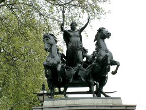 Statue of Boudicca by Thomas Thornycroft near Westminster pier. Creator Kiss Tamás:hu:User:Kit36a from Wikimedia Commons