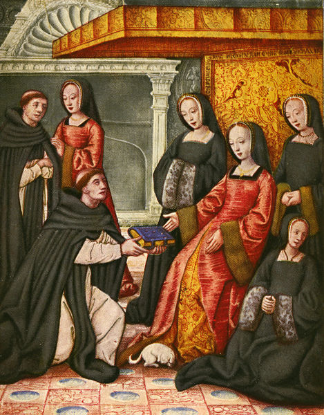 Miniature depicting Anne of Brittany receiving from Antoine Dufour the manuscript praising famous women