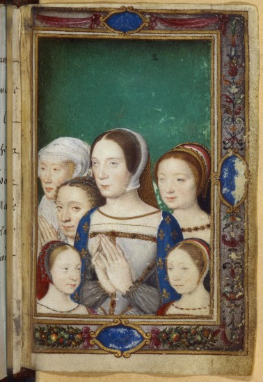 Claude de France (1499-1524), her daughters (Charlotte, Madeleine and Marguerite), her sister Renée and Eleonore of Habsbourg, in Livre d'heures de Catherine de Medicis.