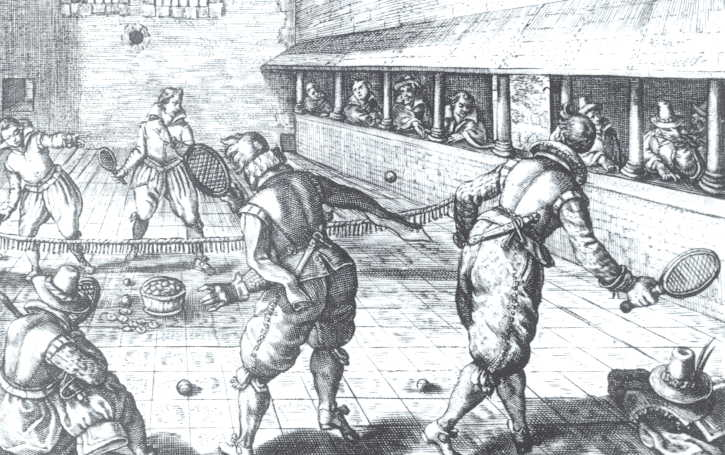 Drawing of a game of jeu de paume from the 17th Century