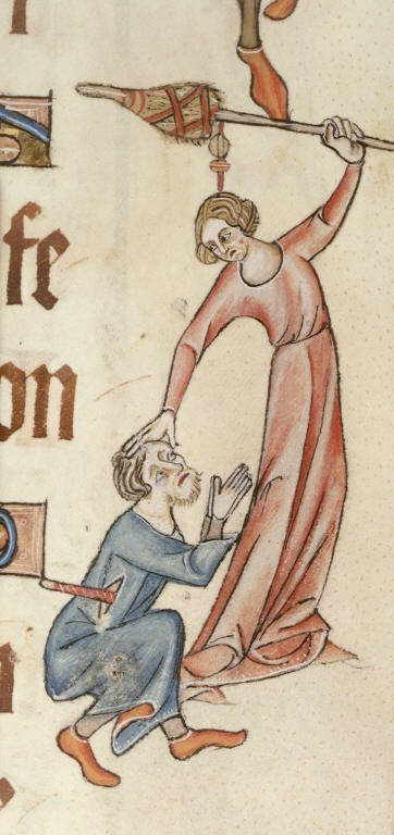 Detail of a marginal image of a woman about to hit a man over the head with her distaff.  England, Diocese of Lincoln, 2nd quarter of the fourteenth century.  Illuminated manuscript from the British Library, Additional 42130  f.60.