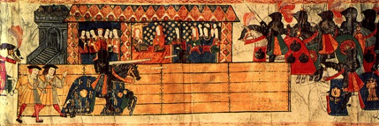 Henry VIII Jousting before His Queen, Katherine of Aragon from the Great Tournament Roll of Westminster, Unknown, c. 1511 Credit: College of Arms