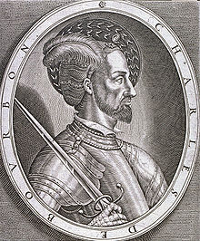 Engraving of Charles de Montpensier, Duke of Bourbon and Constable of France