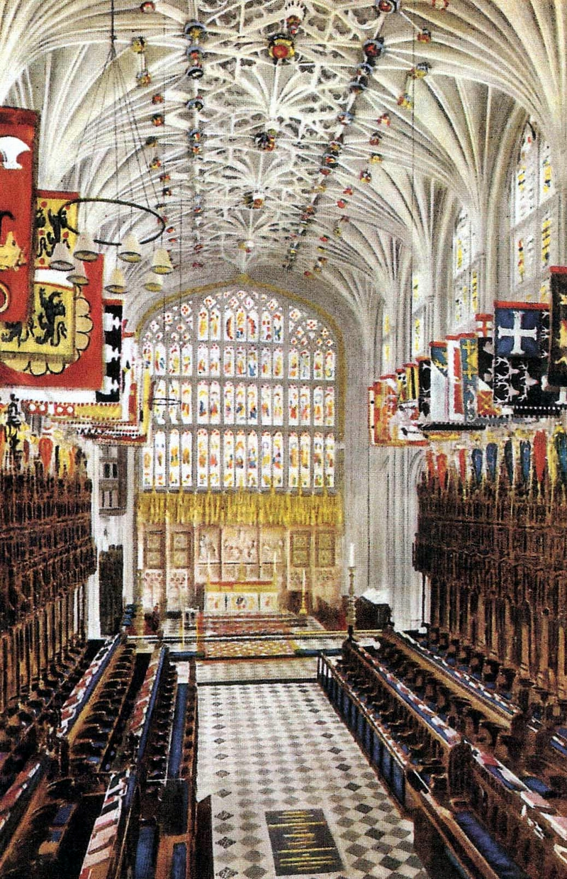 St. George's Chapel with the vault where Henry VIII and Jane Seymour are buried in the floor.  Image from http://www.wingfield.org/Churches/ENGLAND/St%20George'%20s%20Chapel/St%20George's%20A.jpg