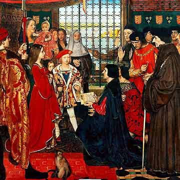 Painting depicting the visit of Erasmus and Thomas More to the royal Tudor nursery at Eltham in the summer of 1499 painted by Frank Cadogan Cowper, 1910.  From Left to Right: Margaret, queen consort of Scotland, aged 10, Edmund Tudor, Duke of Somerset in the arms of a nanny, Mary, Queen of France aged 3, Henry VIII, King of England then Duke of York aged 8. Absent Royal child was Arthur, Prince of Wales who was at Ludlow Castle at the time of the visit.