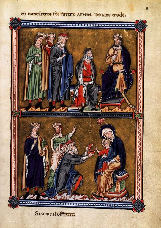 Page from the Ingeborg Psalter depicting the Magi (top) and King Herod (below)