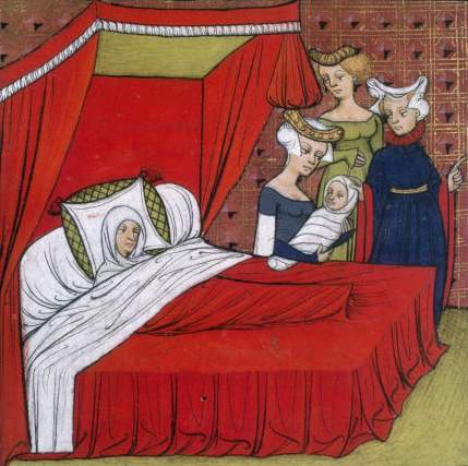 Illuminated miniature depicting the birth of King Louis VIII of France, son of Isabelle of Hainaut