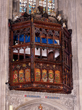 Katherine of Aragon's oriel window in St. George's Chapel, Windsor  (http://www.stgeorges-windsor.org/worship-and-music/experience-st-georges/st-georges-panorama/quire.html)