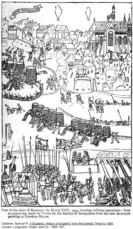 The Siege of Boulogne - 1544.  Engraving made by Vertue for the Society of Antiquaries from a now destroyed painting at Cowdray House.