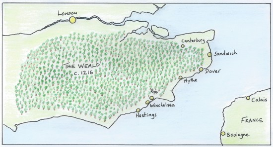 Map of southern England showing the Weald