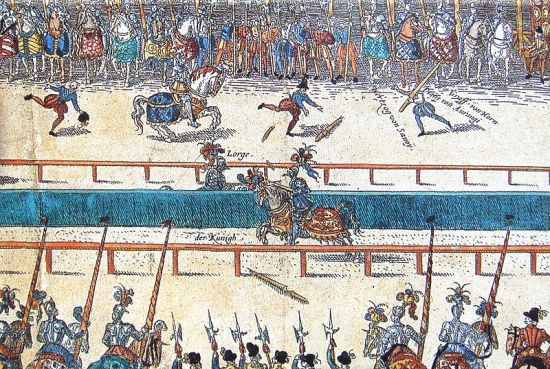 King Henri II of France is injured in a jousting tournament celebrating Marguerite's marriage.