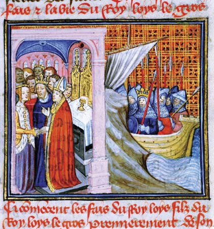 Fourteenth century depiction of the marriage of King Louis VII and Eleanor of Aquitaine.  The image on the right shows Louis leaving for the Second Crusade.