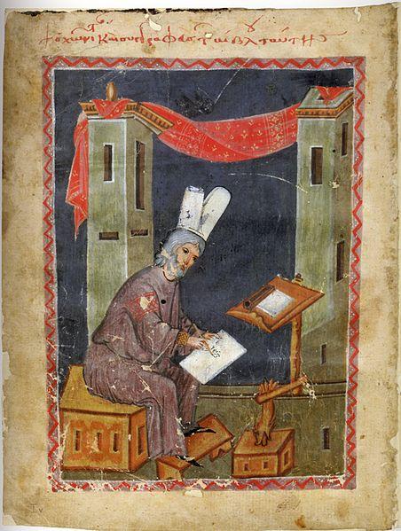 """Miniature of Niketas Choniates from a fourtheenth century manuscript """"Historia"""", Wien, Österreichische Nationalbibliothek, Cod. Hist. gr. 53*, fol. 1v"""