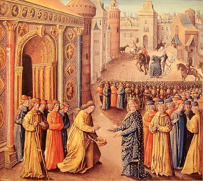 Eleanor's uncle Raymond Of Poitiers welcoming Louis VII in Antioch from a fifteenth century manuscript