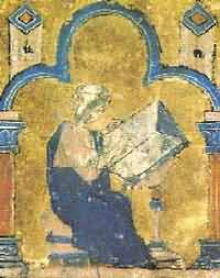 Image of William of Tyre writing his history, from a 13th century Old French translation
