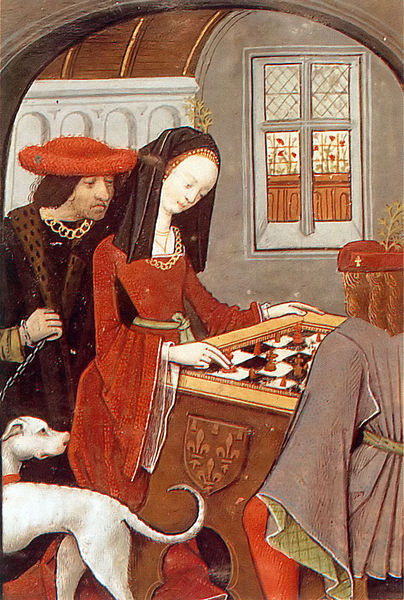 "Detail image of Charles d'Angoulême and Louise of Savoy playing chess from larger illustration in the manuscript ""Le livre des échecs amoureux moralisés"", Evrart de Conty now in the Bibliotheque Nationale"