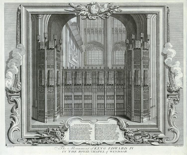 Tomb of King Edward IV in St. George's Chapel, Windsor.  Image published in 1732.  Photo credit:  ancestryimages.com
