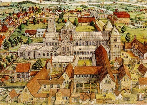 Barking Abbey, c. 1500.  (http://www.tudorplace.com.ar/Documents/barking_abbey.htm)