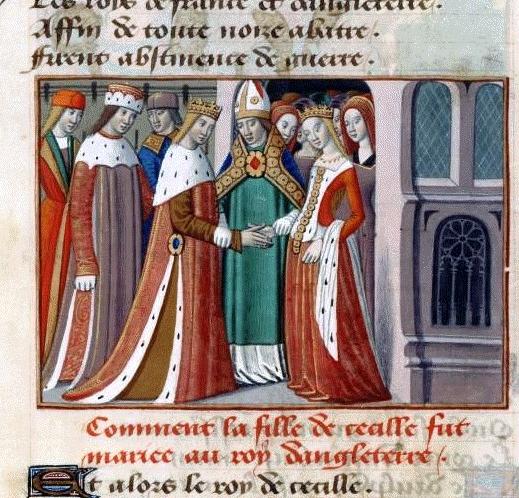 The marriage of Henry VI and Marguerite d'Anjou, by Martial d'Auvergne, illuminated by the work Vigils de Charles VII, Paris, France, fifteenth century