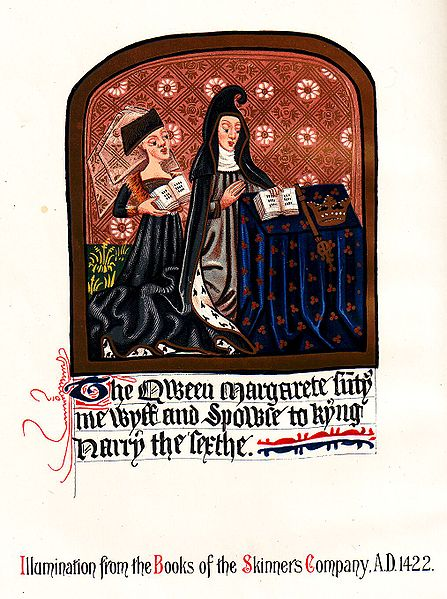 Illuminated image of Margaret of Anjou from the Books of the Skinners Company. A. D. 1422