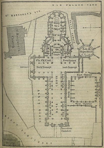 Layout of Westminster Abbey dated 1894